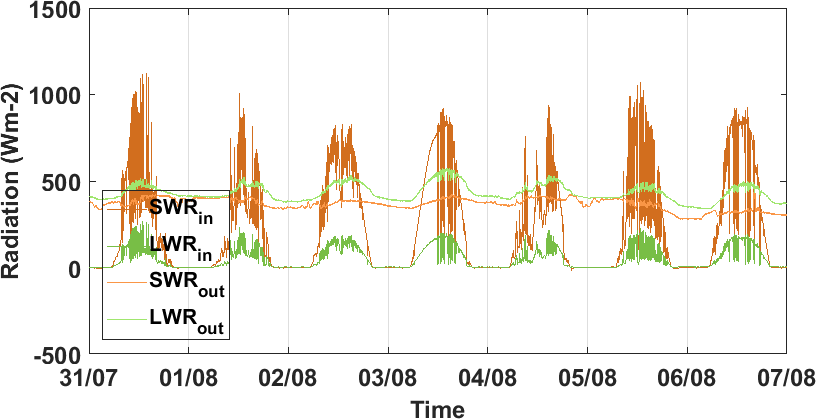 Time series of incoming and outgoing radiation
