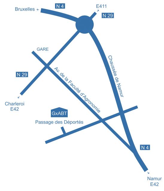 Plan d'accès au campus de Gembloux Agro-Bio Tech - Université de Liège